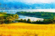 Beautiful Landscape, Yellow Meadow And Computer Painting Effect.