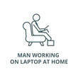 Man working on laptop at home vector line icon, outline concept, linear sign