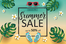 Summer Sale Poster With Palm Leaves, Sunglasses, Tropical Flowers, Flip Flops And Lettering. Special Offer. Up To 50% Off.