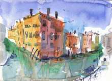 Types Of Venice. Watercolor Sketch, Greeting Card, Banner