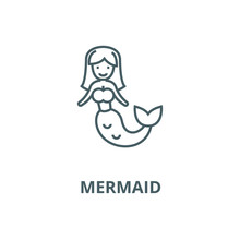 Mermaid Vector Line Icon, Outline Concept, Linear Sign