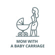 Mom with a baby carriage vector line icon, outline concept, linear sign