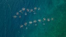 Drone View Tourist People Snorkeling And Swimming With Whale Shark In Sea.