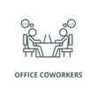 Office coworkers vector line icon, outline concept, linear sign
