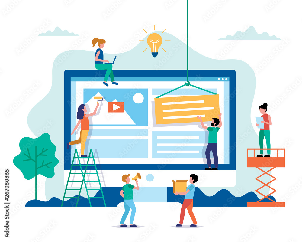 Fototapety, obrazy: Website design - building a website, working on layout. Small people characters doing various tasks. Concept vector illustration in flat style