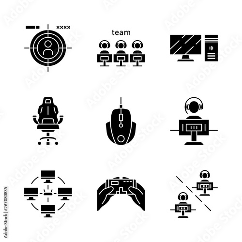 Esports glyph icons set Wallpaper Mural