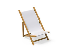Folding Wooden Deckchair Or Beach Chair Mock Up On Isolated White Background, 3d Illustration