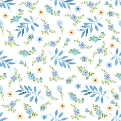 Watercolor blue leaves and flowers seamless pattern. Hand drawn forget-me-not, tulips and palm branches summer background.