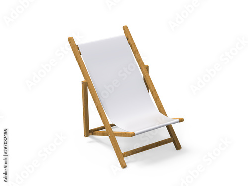 Folding wooden deckchair or beach chair mock up on isolated white background, 3d Wallpaper Mural