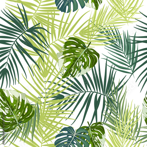 Wall Murals Tropical leaves Tropical vector seamless pattern