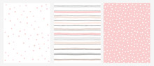 Simple Geometric Vector Pattern With Pink Stars And Stripes On A White Background And White Dots On A Pink Layout.Abstract Irregular Hand Drawn Pastel Color Design For Fabric,Printing, Wrapping Paper.