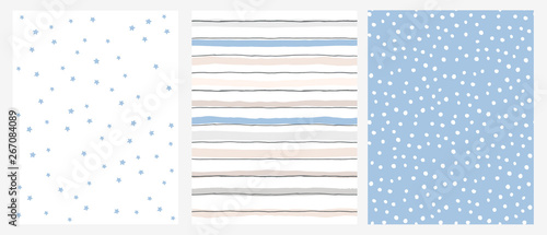 Simple Geometric Vector Pattern with Blue Stars and Stripes on a White Background and White Dots on a Blue Layout.Abstract Irregular Hand Drawn Pastel Color Design for Fabric,Printing, Wrapping Paper.
