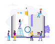Reading, small people characters doing various tasks around big book. Concept illustration for education, books, university, student, research. Vector illustration in flat style