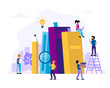 Reading and learning concept illustration with books, pencil, small people characters doing various tasks. Vector illustration in flat style