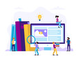 Learning and reading. Concept illustration for education, books, university, studying, research, courses. Vector illustration in flat style with small people doing various tasks