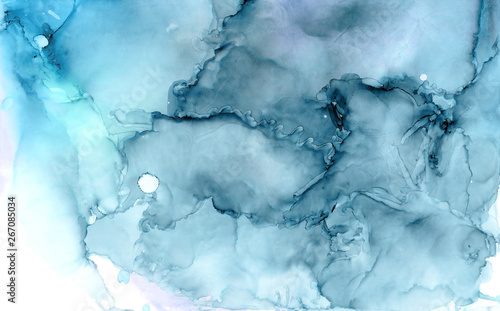 Fototapety, obrazy: Blue abstract alcohol ink background. Indigo ethereal painting. High detailed illustration. Alcohol ink art