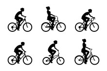 Set Of Womans Riding Bicycles....