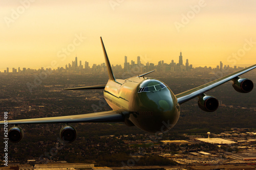 Fotografering  3D rendering of a commercial airplena departing from Chicago, USA