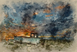 Watercolour painting of Abandoned fishing boat on beach landscape at sunset - 267089010