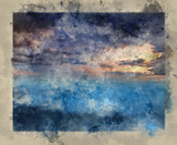 Watercolour painting of Fantasy skyscape sunset over surreal vortex formation - 267089046