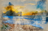 Watercolour painting of Vibrant sunrise over ocean with rock stack in foreground - 267089079