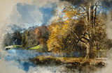 Watercolour painting of Trees and main lake in Stourhead Gardens during Autumn. - 267089227