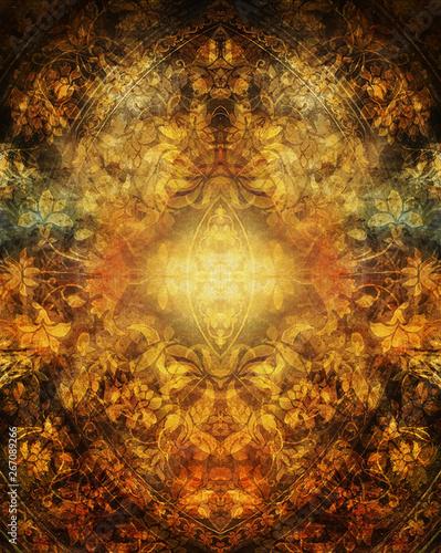 Fotografie, Obraz color ornamental structure, floral ornamental background