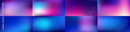 Fotografie, Tablou Set of Smooth abstract colorful mesh backgrounds Vector design
