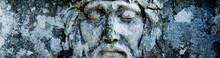 Antique Statue  Of  Jesus Christ Crown Of Thorns. Horizontal Image. Religion, Faith, Death, Resurrection, Eternity Concept.