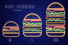 Neon Burgers Set Of Different Sizes Vector Poster. Glowing Fastfood Light Billboard Symbol. Cafe Menu Templates