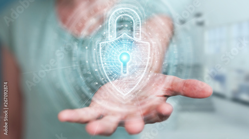 Womanusing digital padlock security interface to protect datas 3D rendering