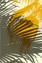 Ct Grunge Vector Background. Color Composition Of Overlapping Palm Leaves.