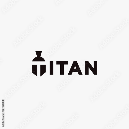 Obraz na plátně Titan wordmark logo icon on white background with negative space spartan head on
