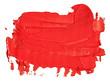 Leinwandbild Motiv Red oil texture paint stain brush stroke, hand painted, isolated on white background