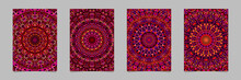 Colorful Floral Ornate Mandala Pattern Brochure Background Template Set - Vector Stationery Designs