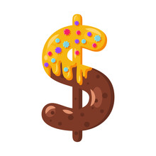 Donut Cartoon Dollar Symbol Vector Illustration