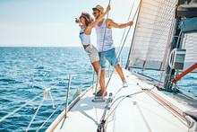 Loving Man With Girl Enjoying Cruise.