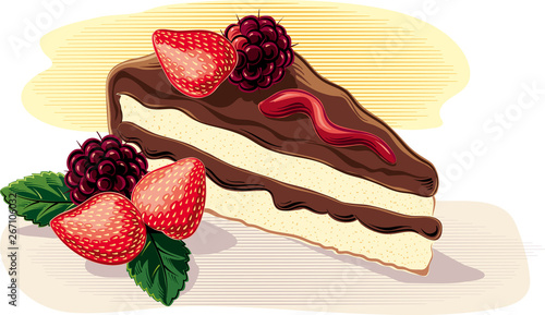 Fototapety, obrazy: A slice of cake, with strawberries and ripe blackberries, on a plane, in vector.