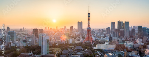 Spoed Foto op Canvas Dubai Tokyo skyline Panorama bei Sonnenuntergang, Japan