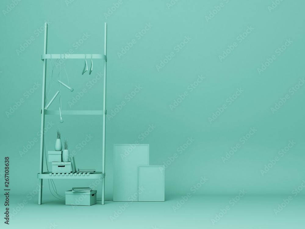 Fototapeta Green shelf and artwork frame.3d rendering