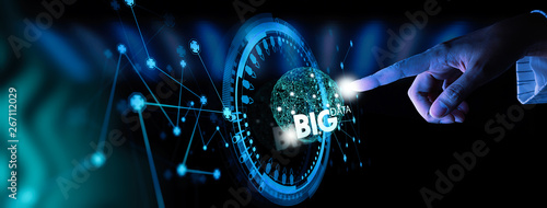 Stampa su Tela  Big data world and globe icon ui with hand selecting and pressing Big Data symbol and modern interface