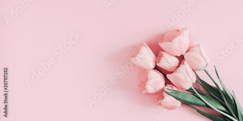 Keuken foto achterwand Tulp Beautiful composition spring flowers. Bouquet of pink tulips flowers on pastel pink background. Valentine's Day, Easter, Birthday, Happy Women's Day, Mother's Day. Flat lay, top view, copy space