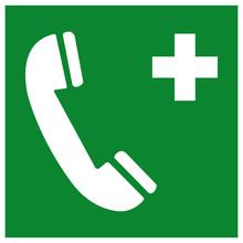 Emergency Telephone Symbol Sign, Vector Illustration, Isolated On White Background Label .EPS10