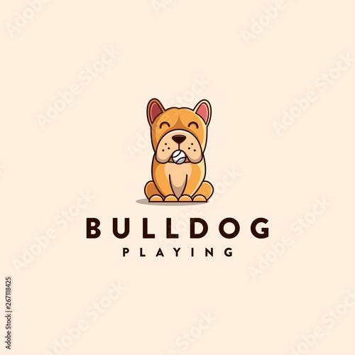Valokuva mascot character cartoon logo of Bulldog playing with ball, fun and playfull log
