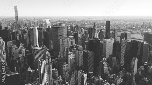 Poster New York black and white view of Manhattan buildings, New York City, USA