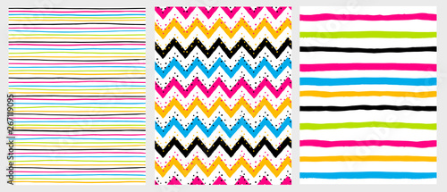 Photo Simple Geometric Vector Patterns with Colorful Stripes and Chervron on a White Background