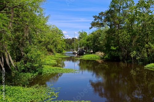 Boats parked along a canal on a sunny spring day in Bayou De Zaire located in Ma Wallpaper Mural