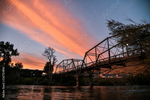 Clark Fork River in Missoula, Montana at Sunet