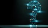 Signo de interrogación y concepto de ciencia y tecnología. Preguntas y respuestas en Internet. Preguntas sobre redes y comunicación