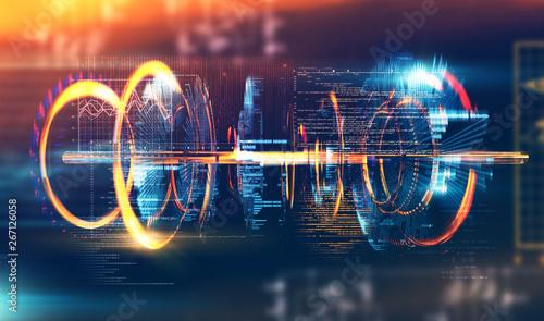 fondo abstracto de tecnología  e ingeniería de . Diseño futurista y moderno del prototipo, código y números para el concepto de computación y comunicación cuántica. - 267126058